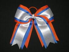 "NEW ""ORANGE BLUE SILVER"" Cheer Hair Bow Pony Tail 3"" Ribbon Girls Cheerleading"