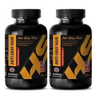 Folic Acid - NATURAL ANTI GRAY HAIR COMPLEX - hair growth pills - 2 Bottles