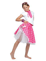 Kids Pink Rock N Roll Skirt & Scarf Fancy Dress Costume Dance 1950s Polka Dot