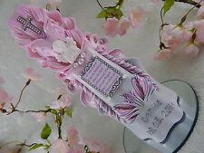 Taufkerze geschnitzt rosa mit Taufspruch oder Foto Schutzengel für Mädchen