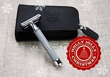 3 Piece De Safety Shaving Razor For Men's In GREY & Leather Case + Free 5 Blades