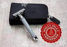 3 Piece De Safety Shaving Razor For Men's In GREY & Leather Case + Free 5 Blades