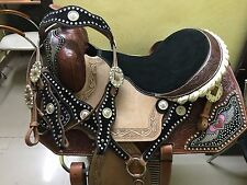 """Western Natural Barrel Racer Embroidered Heart/Wing Matching Crystal 16"""" Saddle"""