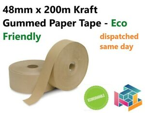 Brown Strong Gummed Paper Water Activated Tape 48mm x 200M, 60GSM