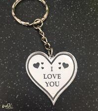 I Love You Romantic Mirror Acrylic Keyring / Key chain Laser Engraved ky1