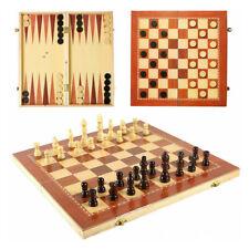 Schach Backgammon Dame Kassette 3 in1 Spiel Schachspiel Backgammonspiel Holz Neu