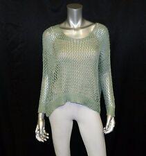 YILANZIANNI NWT Sage Green/Metallic Threading Loose Crochet Dolman Sweater sz L