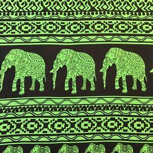 One Metre Green Elephant Print Cotton Fabric for Yoga Harem Pants Beach Wrap UK