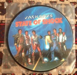 """JACKSONS state of shock*your ways 1984 UK EPIC 7"""" PICTURE DISC 45"""