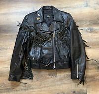 Vintage Leather Rider Women's Black Leather Fringe Tassel Jacket Biker Rocker