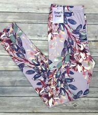 PLUS Size Pink Purple Leaves Floral Leggings Curvy Plus Fits 10-18