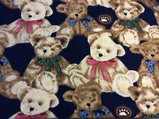 "Giant Teddy Bear on Navy Blue fleece fabric, 60"" wide, sold by the yard"