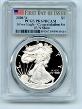 2020 W $1 Proof Silver Eagle 1oz Congratulations FUN Show PCGS PR69DCAM FDOI