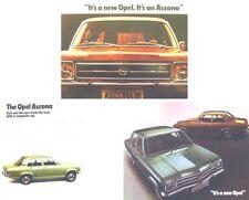 Opel Ascona A 1971/72 Original UK Sales Brochure + Price List & Specifications