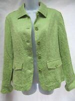 Coldwater Creek jacquard crinkle stretch blazer jacket traveler pockets 10 MINT