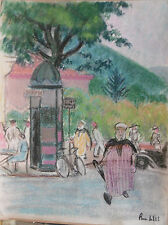 """Dessin Ancien Pastel PIERRE SUBTIL """"Le Kiosque""""  PS144"""