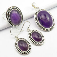 FREE Gift Box 925 Silver Real AMETHYST Gems Earrings Pendant Ring Size 8.75 SET