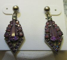 Sorrelli African Violet Earrings EDB21ASAFV antique silver tone