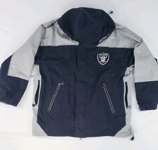 54163NFL Raider Jacket Dual Zipper Black And Grey Embroidered Mascot Logo