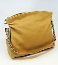 CHANEL QUILTED CAMEL LEATHER SHOULDER BAG W/ SILVER TONE HARDWARE CLASSIC HOBO