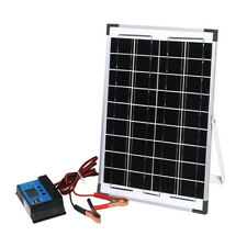 12V 10W Solar Panel Kit MONO Caravan Regulator RV Camping Home Power Charging