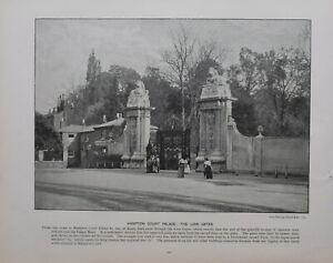 1896 London Aufdruck + Text Hampton Court Palast The Löwe Gates