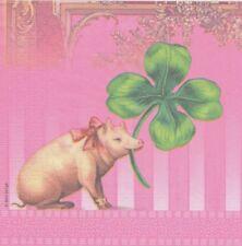 Lot de 2 Serviettes en papier Chance Cochon Trèfle Decoupage Collage