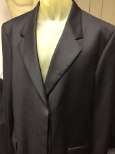 Brera Italian Milan Wool Dress Suit Top Coat Long Super 120's 52 XL Black New