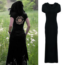 Summer Women Gothic Medieval Vintage Hooded Long Dress Maxi Pixie Dress Cosplay
