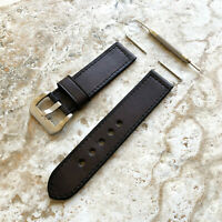 Dark Brown 20mm 22mm 24mm Double Sided Stitched Leather Band Strap For Watches