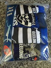 Bnip Boys Sz 3-4 Pack of 4 Afl Geelong 100% Cotton Classic Briefs Underpants