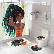 African Girl Bathroom Rug Set Shower Curtain Bath Mat Non-Slip Toilet Lid Cover