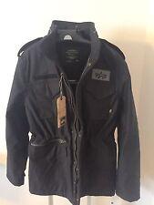 Alpha Industries M-65 Infantry Field Military Coat Black Jacket Size M