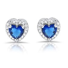 Blue Sapphire Heart Simulated Diamond Genuine Sterling Silver Stud Earrings