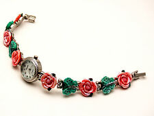 WOMEN'S ANTIQUE SILVER FINISH  ROSES/BUTTERFLY LINKS CASE ANALOG QUARTZ WATCH