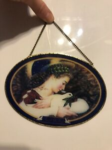 Oval SUNCATCHER 6 inch x 4.25 inches Angels on HIgh Dove
