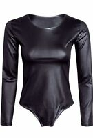 NEW WOMEN LADIES PVC PU WET LOOK LONG SLEEVE BODYSUIT LEOTARD TOP PLUS SIZE 8-20