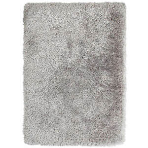 Think Rugs Montana Modern Super Heavy Weight Hand tufted Shaggy Silver Rugs