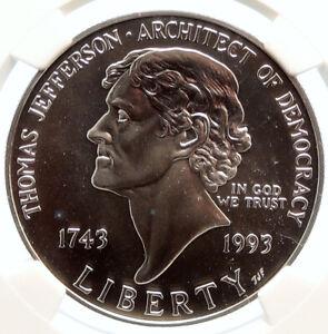 1993P UNITED STATES USA President Thomas Jefferson Silver Dollar Coin NGC i95560