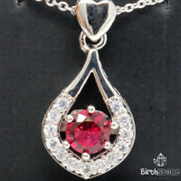 Red Ruby Round Diamond Halo Pendant Necklace 14K White Gold Jewelry 18""