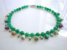 Halsketten und Anhänger mit Jade Echtschmuck für Damen versilberte