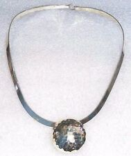 Retired SILPADA Sterling Silver Collar Wire Choker With Hammered Circle Pendant