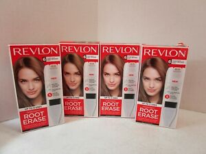 4 REVLON PERMANENT ROOT ERASE #6 LIGHT BROWN SHADES 100%COVERAGE 11/21 MM 19924