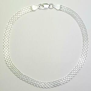 Bismark Bracelet 8 inches Long 6mm wide 925 Sterling Silver Italy 0504F
