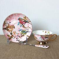 3pcs / Set Fine Bone China English Tea Coffee Cup Saucer Spoon Set High Tea  !