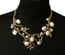 BEAUTIFUL ZARA WHITE PEARLS BRANCH NECKLACE - NEW