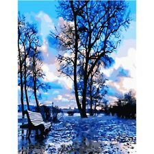 """Paint By Number Kit Blue Sky Nature Abstract Landscape DIY 16x20"""" 40x50cm Canvas"""