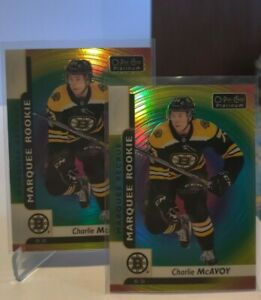 Charlie McAvoy 2017-18 O-PEE-CHEE platinum rainbow foil rookie card lot of 2