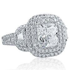 3.49 Ct F-VS2 Cushion Cut Half Moon Side Diamond Engagement Ring 18k White Gold