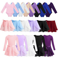 Girls Long Sleeve Ballet Dance Dress Kids Gymnastics Leotards Tutu Skirt Costume